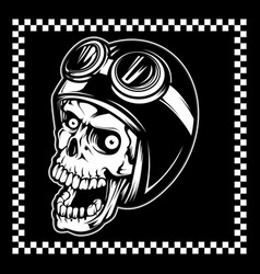 skull wearing a helmet and a google cross hand vector image