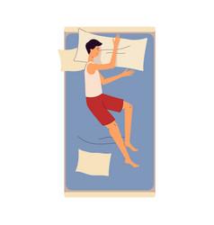 sleeping on bed young man cartoon character flat vector image