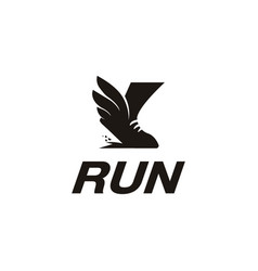 sneaker sport shoe wing logo fast running logo vector image
