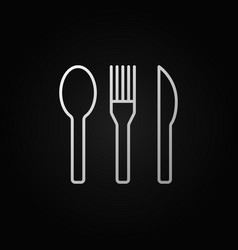Spoon fork and knife linear icon or sign vector