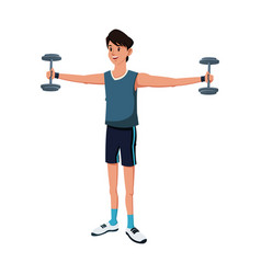 sport man dumbbell strong exercise vector image