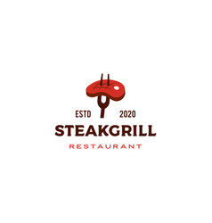 Steak grill logo icon vector