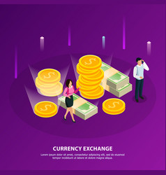 stock exchange isometric banner vector image
