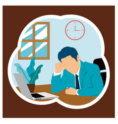 Stress people adult male sad and problem work vector