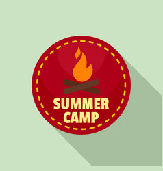 Summer camp fire logo flat style vector