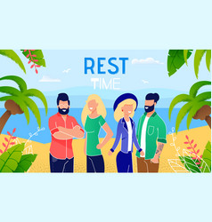 summer vacation on tropical seashore banner vector image