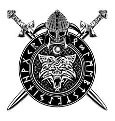 sword rune wolf 3 vector image