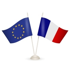 Table stand with flags of France and European vector image