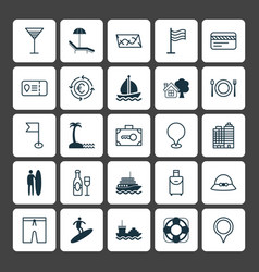 Tourism icons set collection of yacht security vector