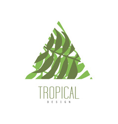 Tropical logo design triangle badge with palm vector