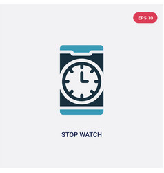 two color stop watch icon from mobile app concept vector image
