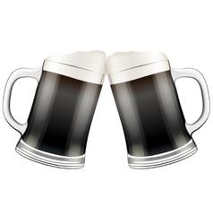 Two dark beer mugs clink vector