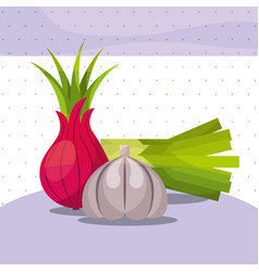 vegetables fresh organic healthy onion chives vector image