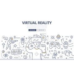 Virtual Reality Doodle Concept vector