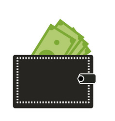Wallet with dollars icon on white background vector