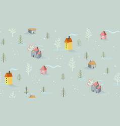 winter landscape cottages and trees village vector image