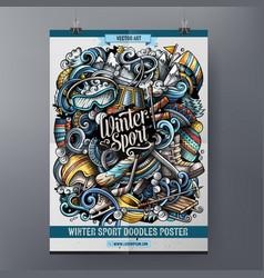 winter sport doodles poster design ski resort vector image