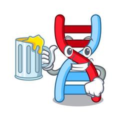 With juice dna molecule mascot cartoon vector