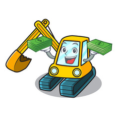 With money bag excavator mascot cartoon style vector
