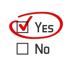 Yes no checked with red marker line vector