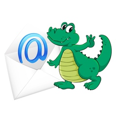 Crocodile with mail envelope vector image