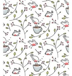 Garden with Birds Seamless Pattern vector image