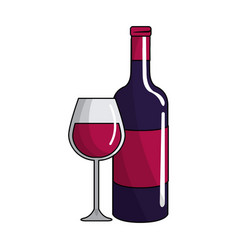 glass and bottle of wine icon vector image vector image
