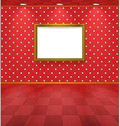 Polka dot room with frame vector image