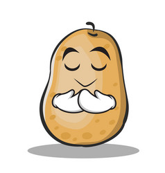 praying potato character cartoon style vector image