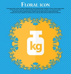 Weight icon Floral flat design on a blue abstract vector image