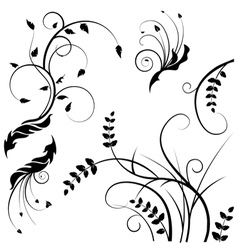 wild flower silhouettes vector image vector image