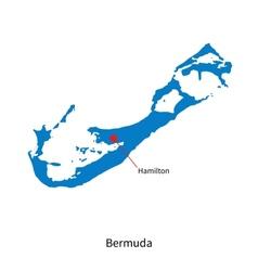 Detailed map of Bermuda and capital city Hamilton vector image