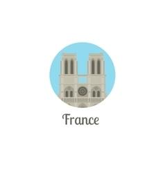 France notre dame landmark round icon vector image