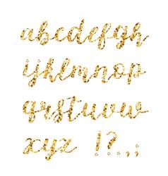 golden glitter alphabet brush glowing font vector image vector image