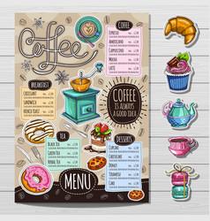 hand drawn menu vector image vector image