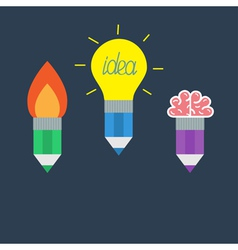 Pencil set with yellow light bulb lamp rocket fire vector image vector image