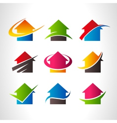 Real Estate House Logo Icons vector image vector image