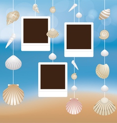Sea Shell and Frame Hanging Mobile Blur Background vector image