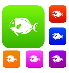 surgeon fish set collection vector image