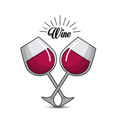glasses with wine icon image vector image