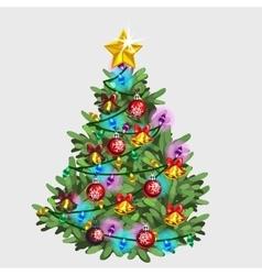 Green Christmas tree with star ball and garland vector image