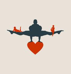 muscular man balancing on heart icon vector image