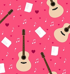 seamless pattern with guitars lyrics notes and vector image