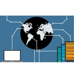 The connection between the world of computers and vector image vector image