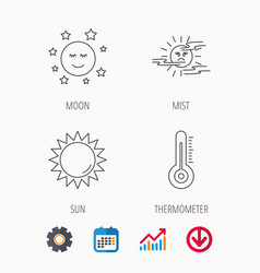 Thermometer sun and mist icons moon night vector