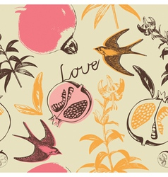 Vintage Love Swallow Birds Pattern vector image