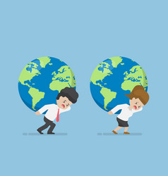 businessman and businesswoman carry world globe vector image vector image