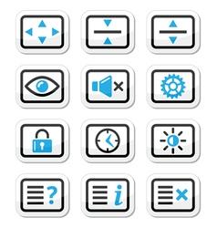 Computer tv monitor screen icons set vector image vector image