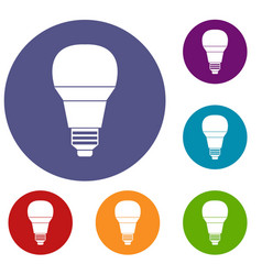 glowing led bulb icons set vector image vector image