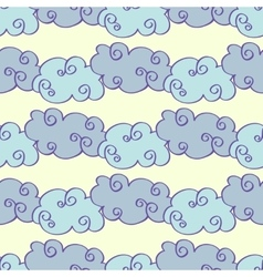 Pastel colored hand drawn clouds seamless vector image